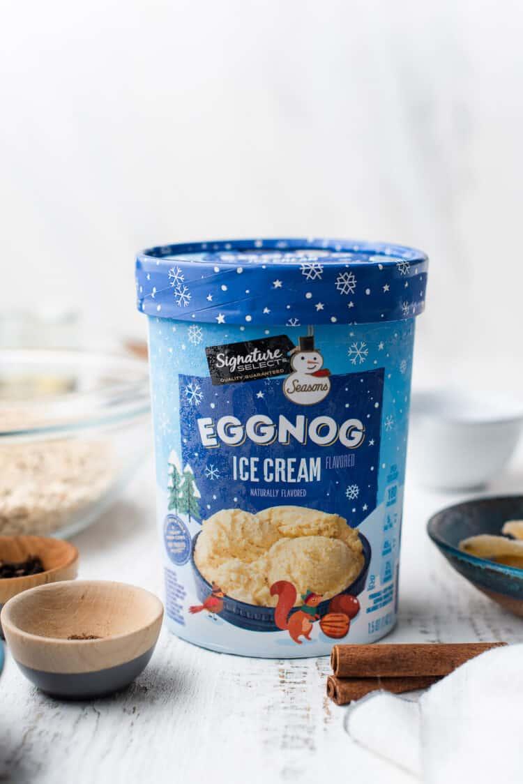 Signature Select Eggnog Ice Cream on a white table.