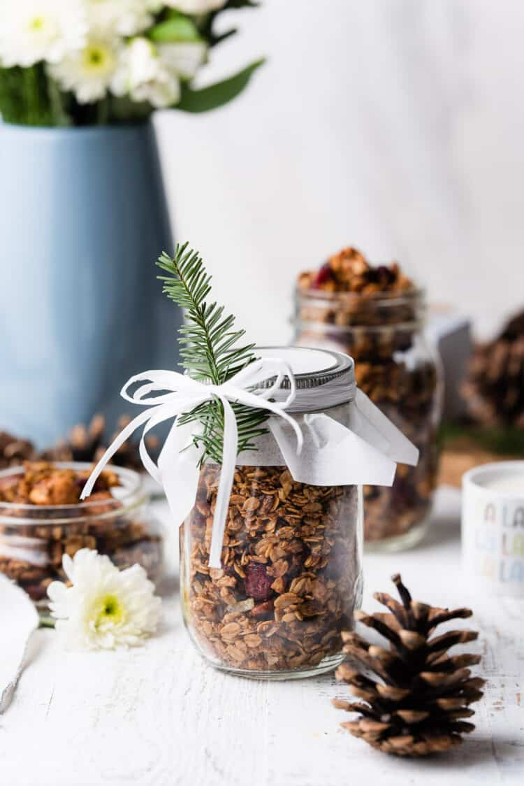 Gingerbread granola in a mason jar decorated with ribbon and sprig of pine.