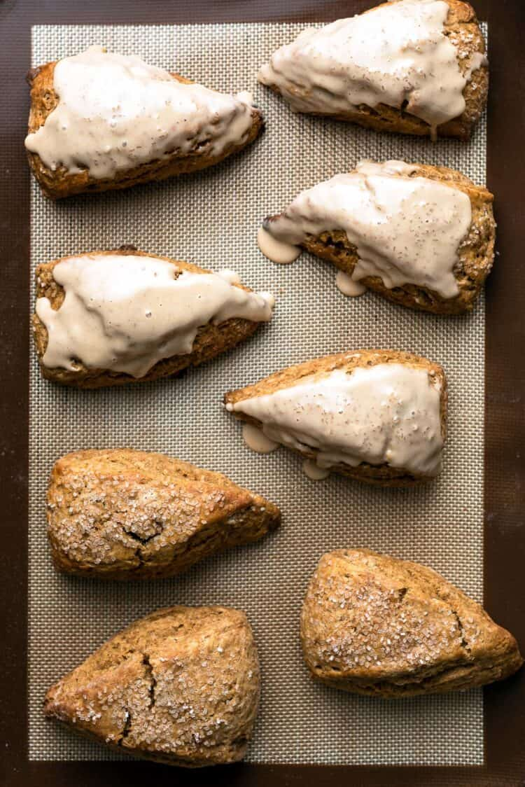Gingerbread Scones on a baking sheet.