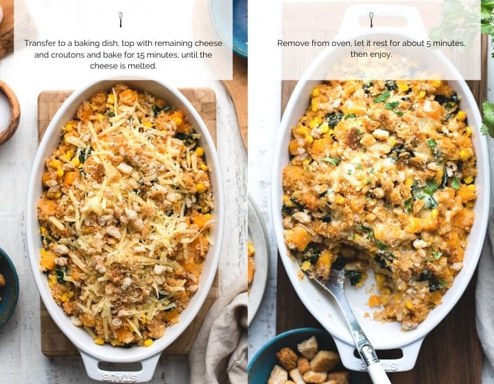 Step by step instructions for how to make Winter Squash and Quinoa Bake.