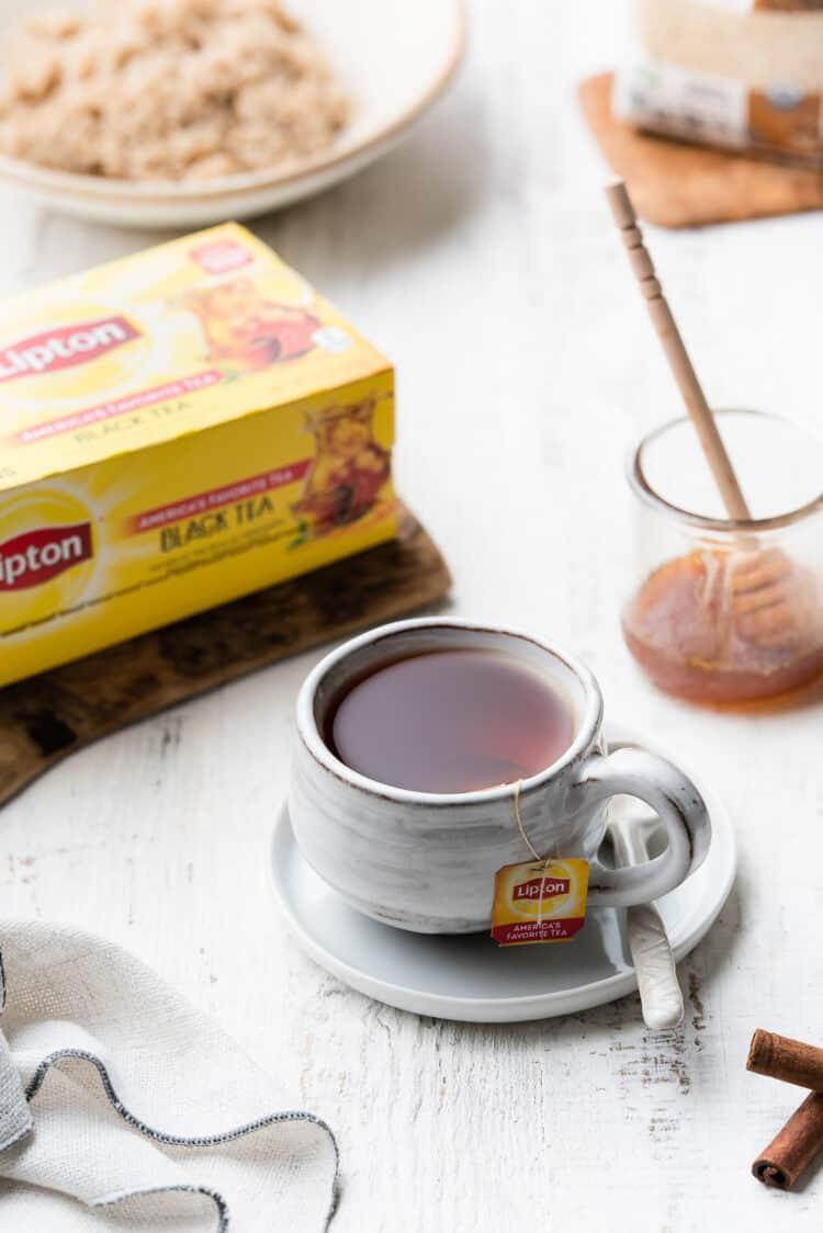 Lipton Tea in a white mug.