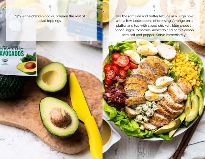 Step by step instructions for how to make Chicken Cobb Salad.