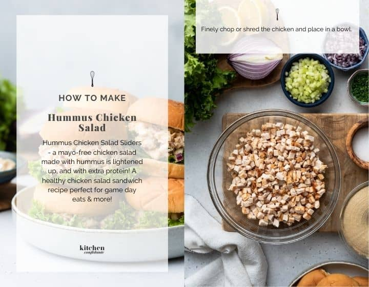 Step by step instructions for how to make hummus chicken salad sliders.