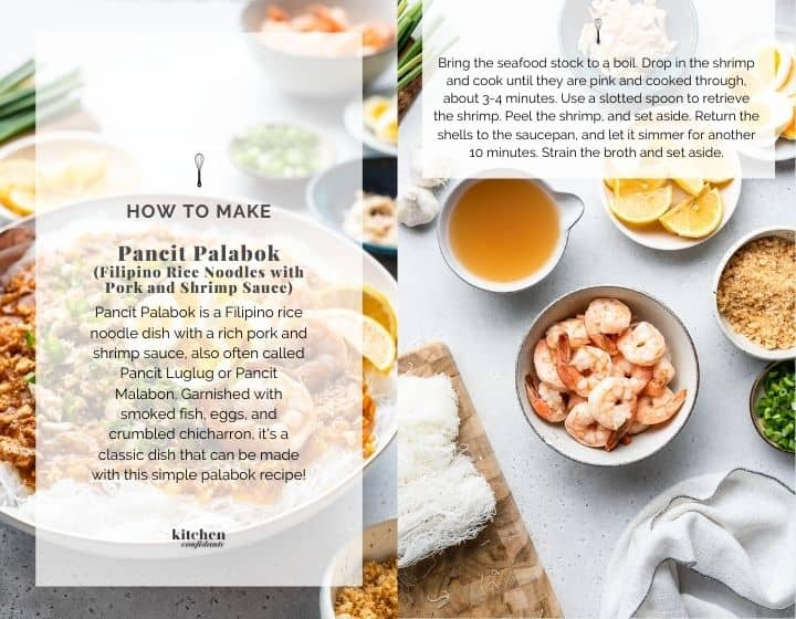 Step by step instructions for how to make Pancit Palabok.