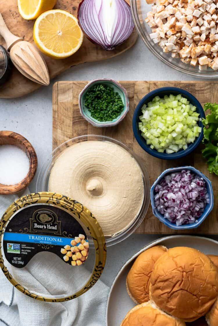 Boar's Head Humus and ingredients for Hummus Chicken Salad Sliders
