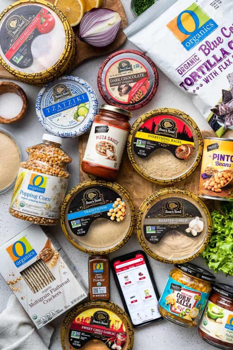Ingredients from Safeway, including Boar's Head Hummus.