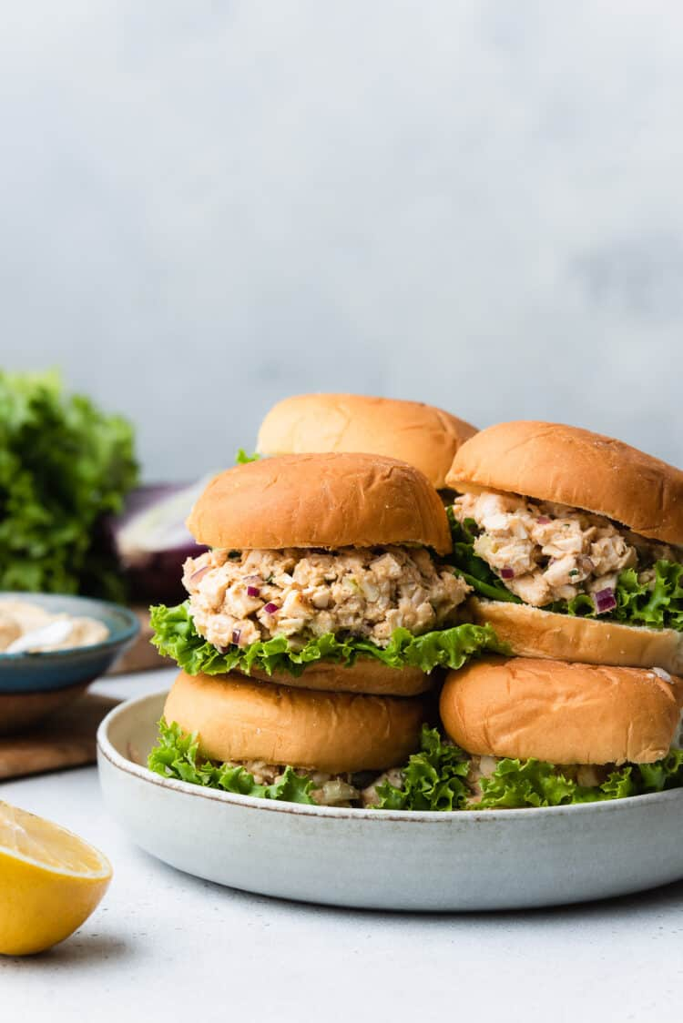 Stack of Hummus Chicken Salad Sliders on a plate.