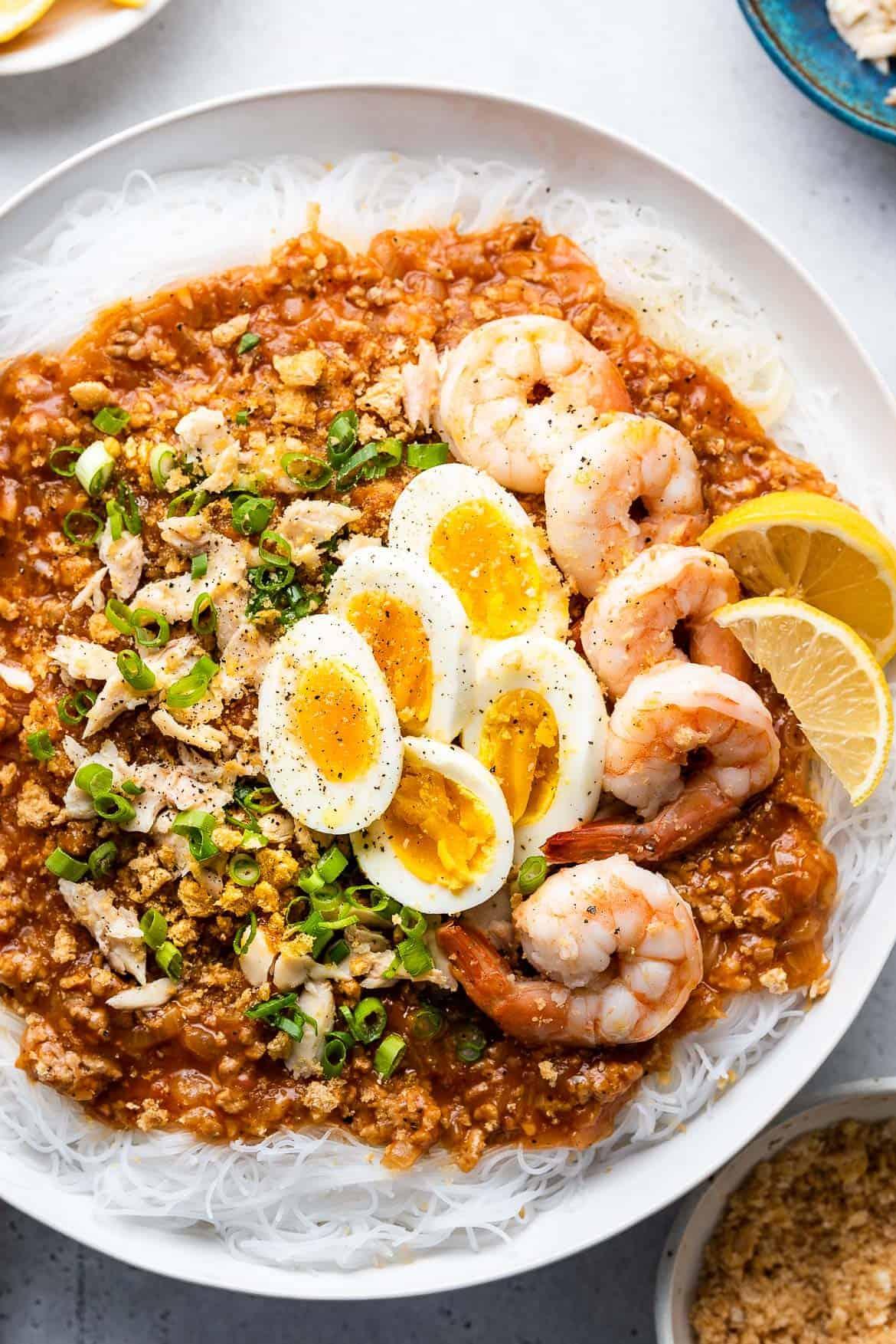 Pancit Palabok Filipino Noodles With Pork Shrimp Kitchen Confidante