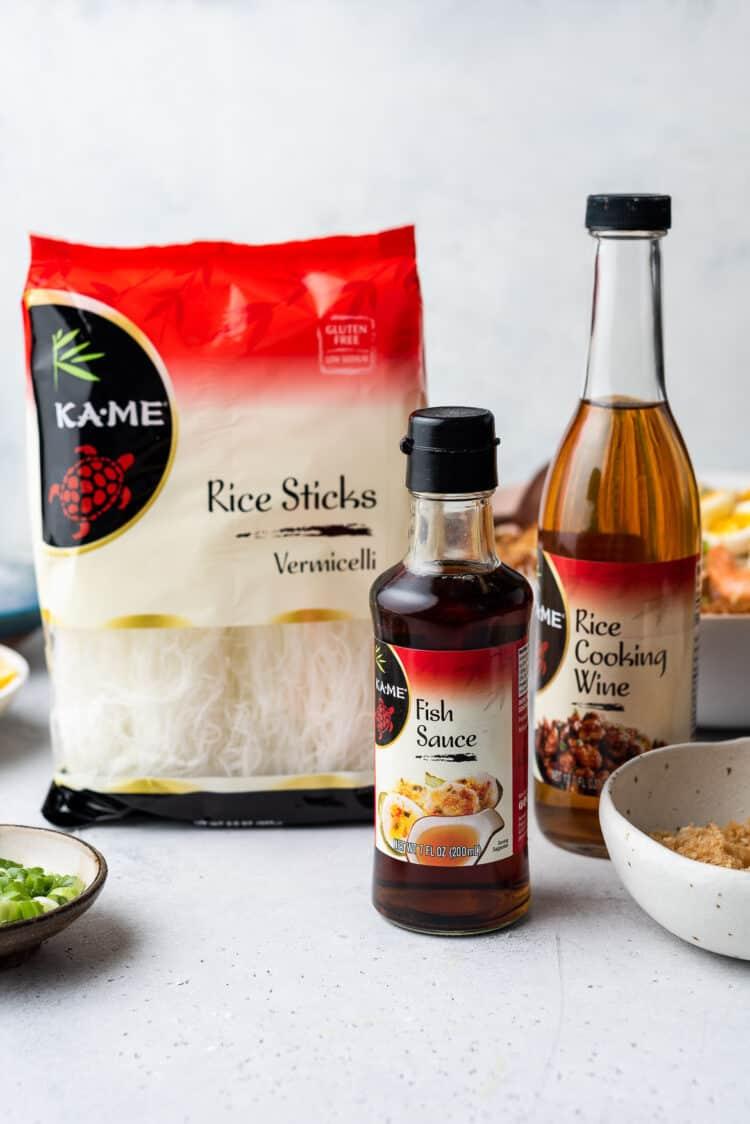 KA-ME ingredients used to make pancit palabok: fish sauce, rice sticks and rice cooking wine.