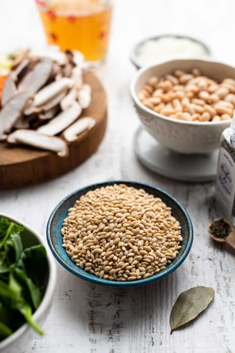 Bowl of pearl barley with ingredients for instant pot bean soup.