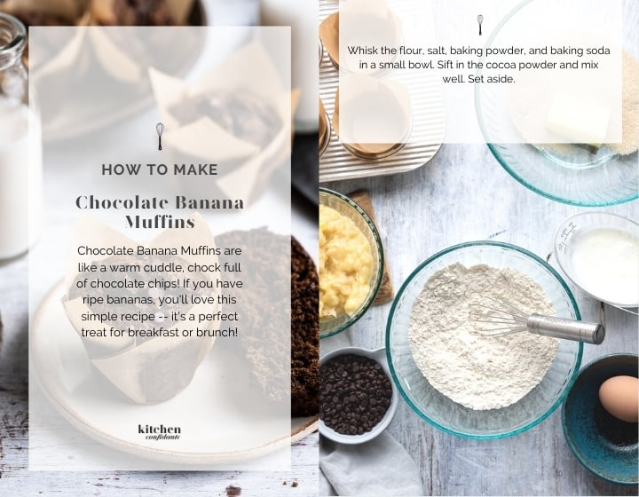 Step by step instructions for how to make Chocolate Banana Muffins.
