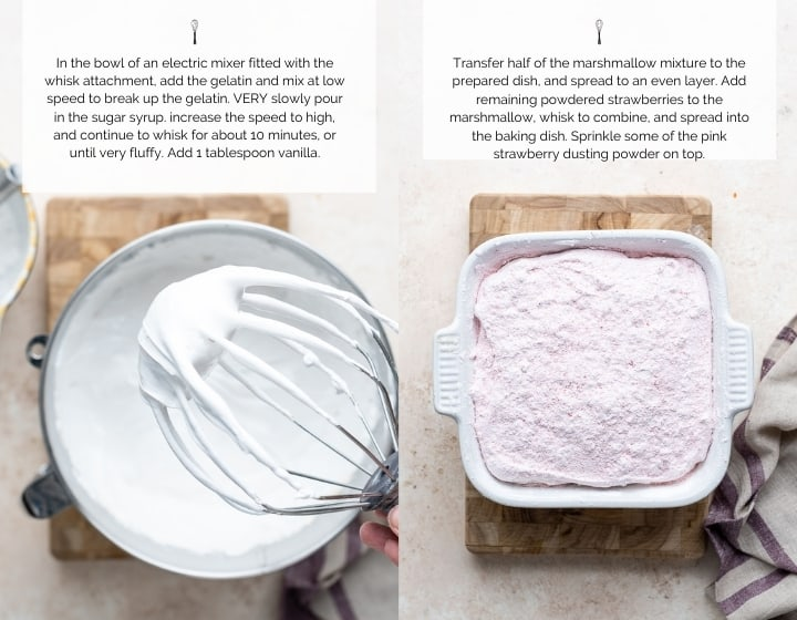 Step by step instructions for how to make homemade marshmallows.