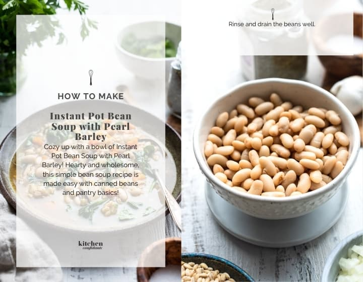 Step by step instructions for how to make Instant Pot Bean Soup with Pearl Barley.