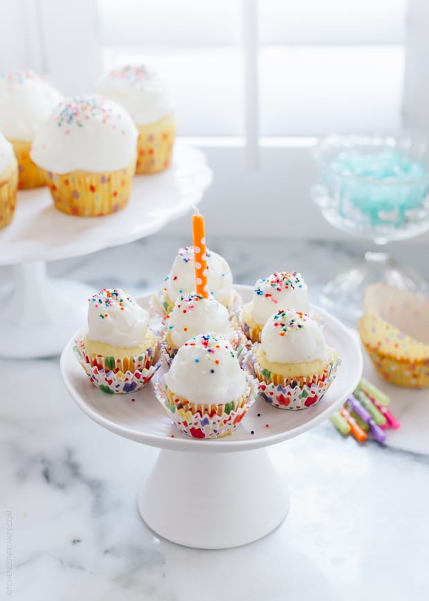 Ice Cream Cupcakes on a white cake stand.