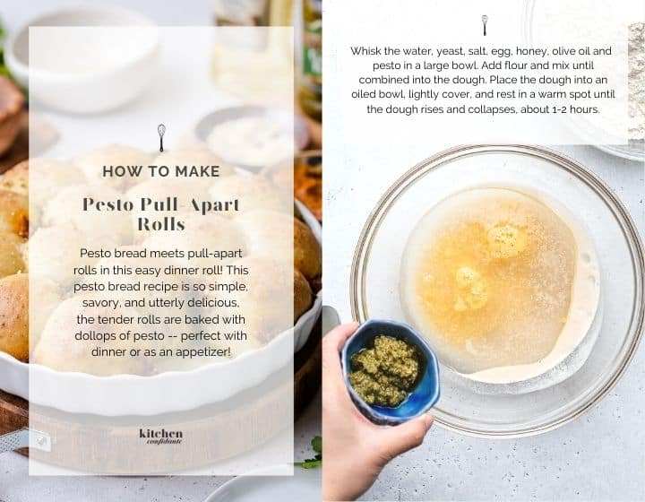 Step by step instructions for how to make pesto pull-apart rolls.