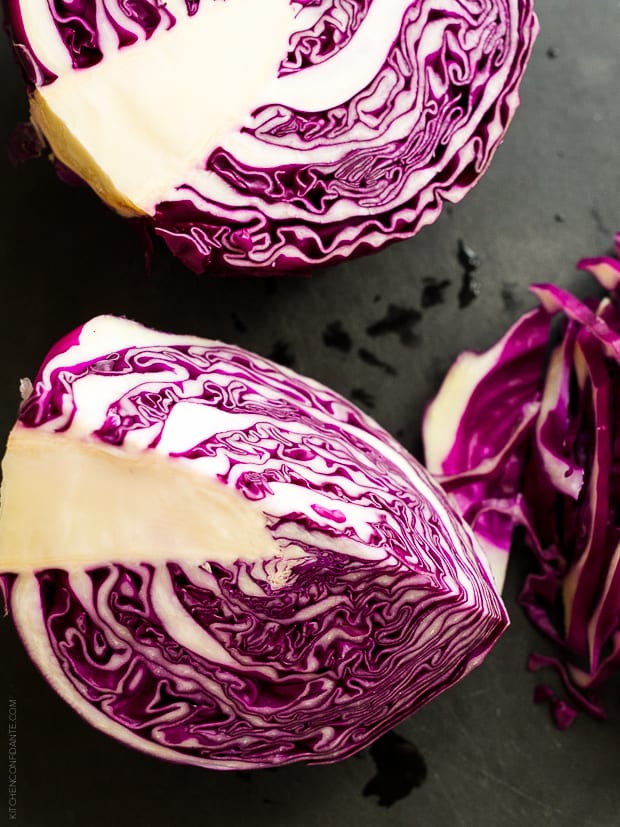The inside of a red cabbage.