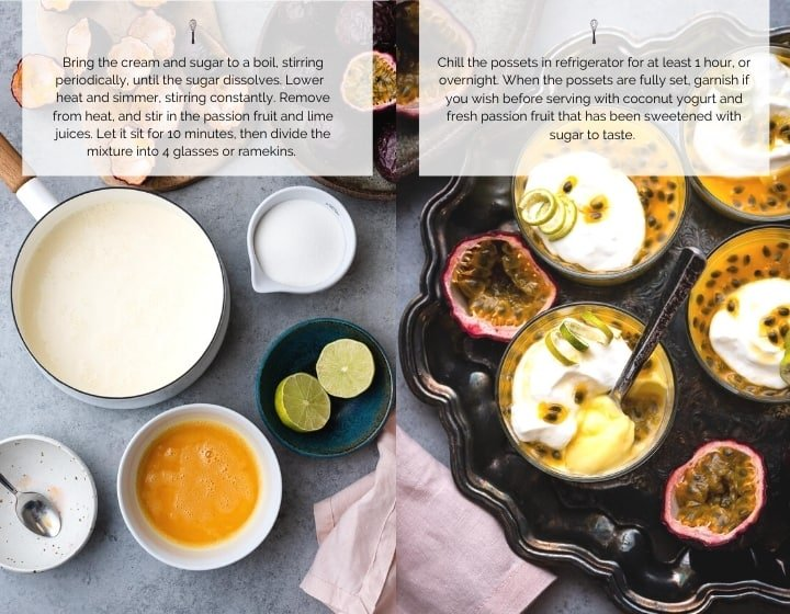 Step by step instructions for how to make passion fruit possets.
