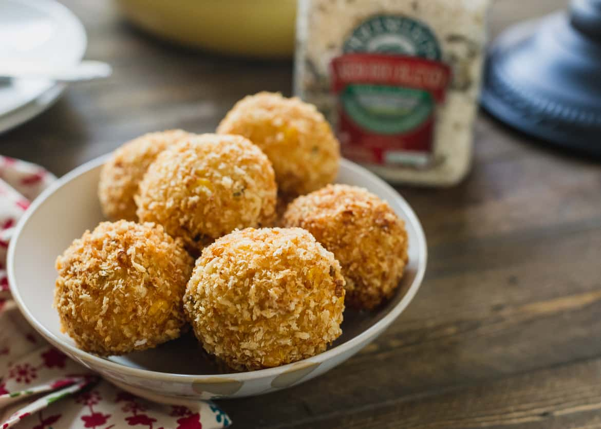 Arancini made with leftover risotto, fried and served in a bowl.