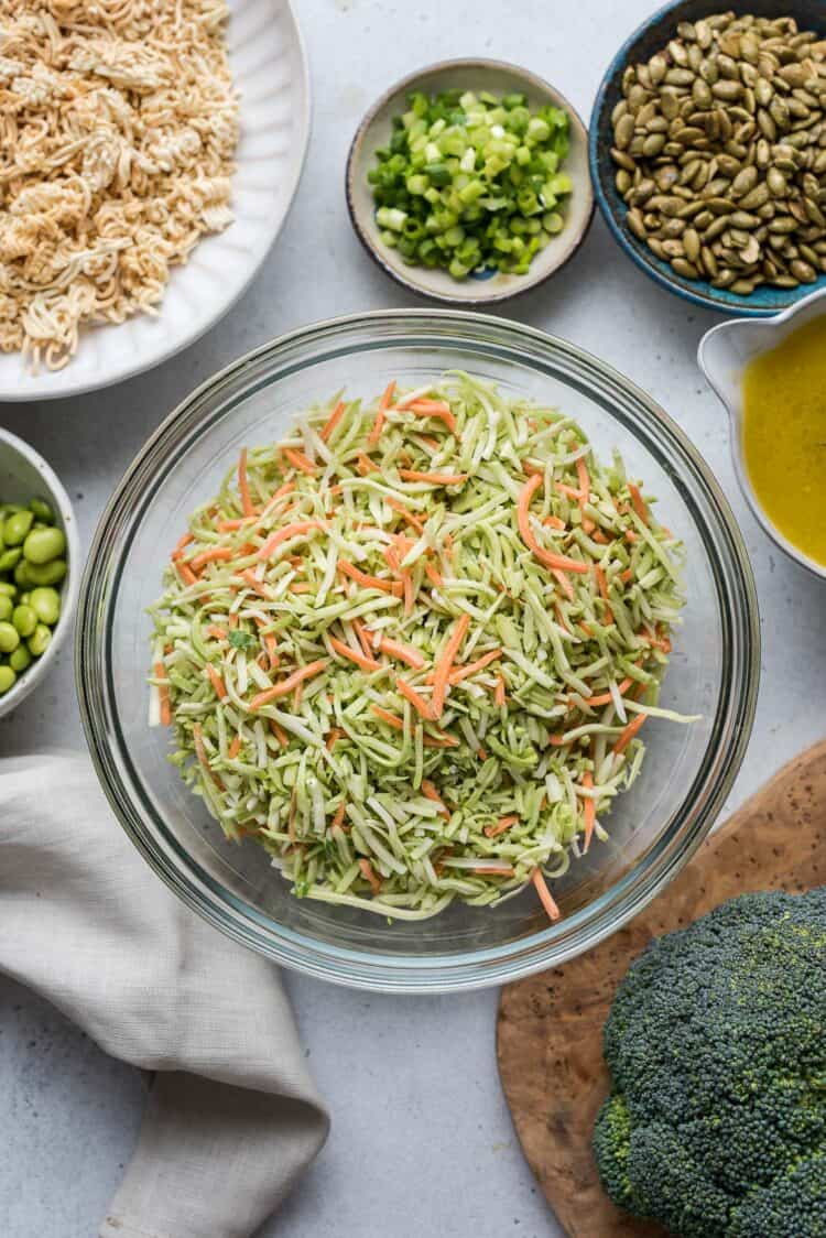 Ingredients for Broccoli Slaw with Ramen.