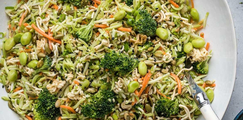Broccoli Slaw with Ramen in a white bowl