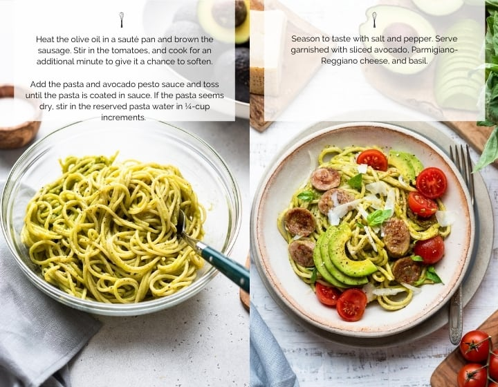 Step by step instructions for how to make Avocado Pesto Pasta with Chicken Sausage.