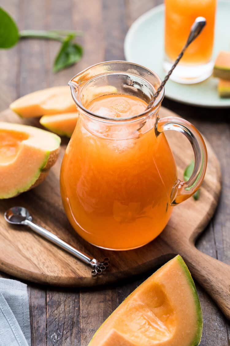 Cantaloupe Juice in a glass pitcher