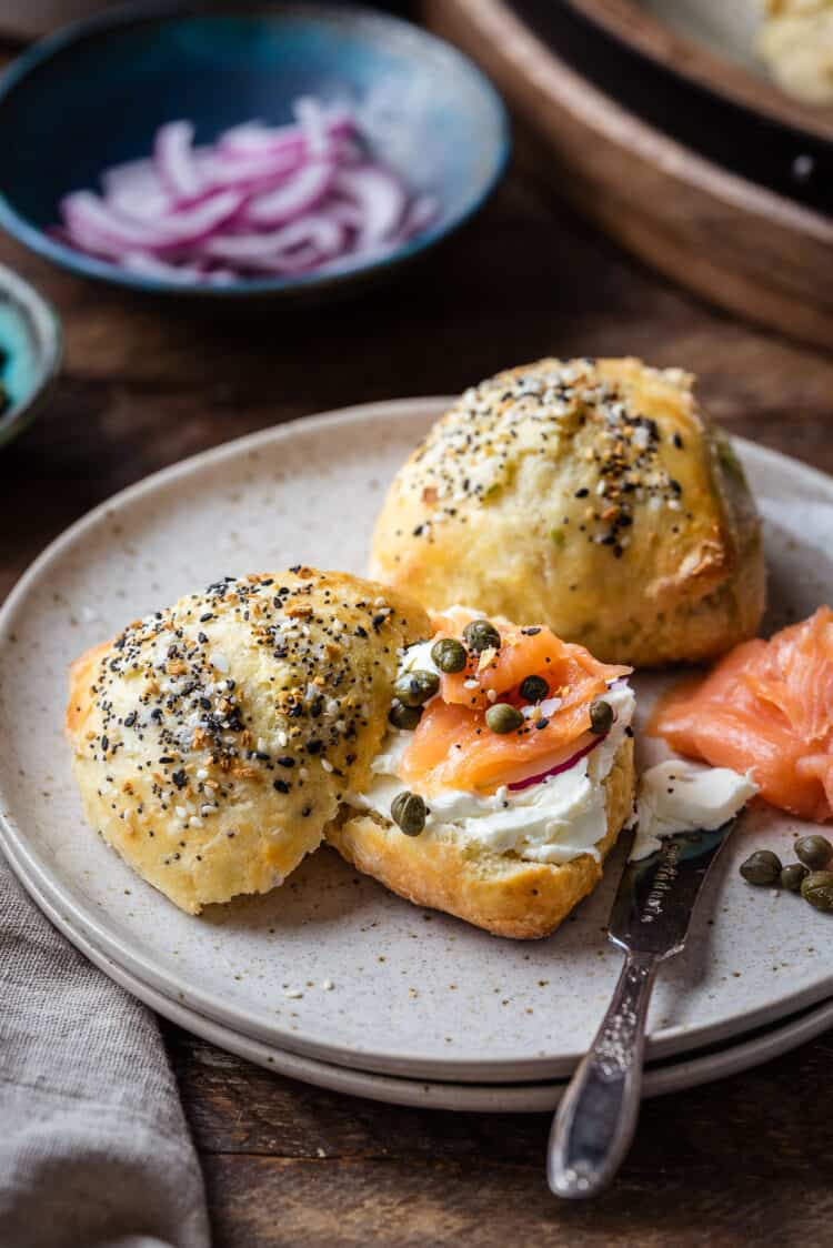 Everything Bagel Scones served with cream cheese, lox (smoked salmon), capers, and red onions.