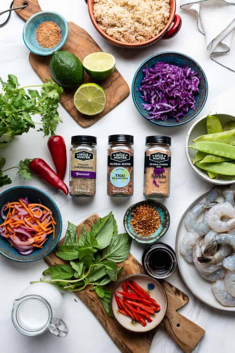 The Spice Hunter Thai Seasoning with ingredients for Thai-style Shrimp Bowls