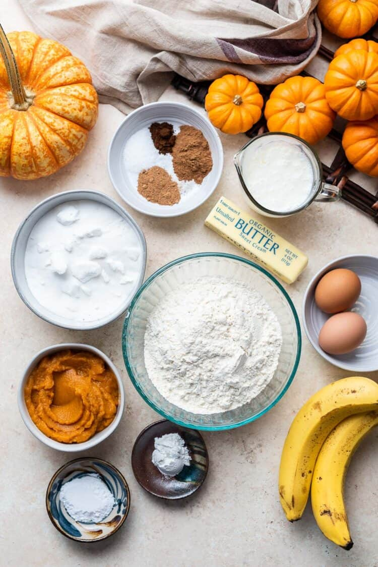 Ingredients for Buttermilk Pumpkin Bread on a table.